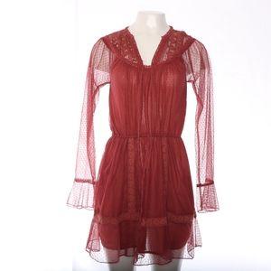 Cleobella Lace Long Sleeve Sheer Red Mini Dress XS